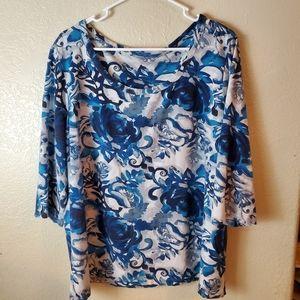 Style & Co Blue Floral Cotton Knit Boho Top 2X